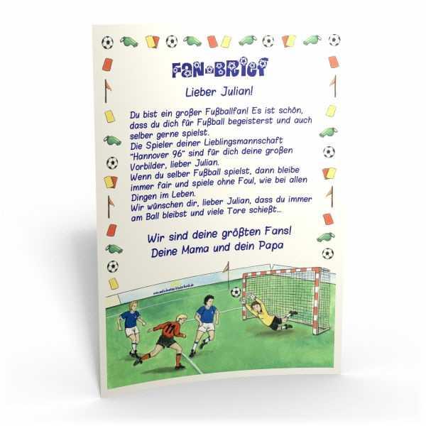 Kinderbriefe Muster : Fußball fan brief