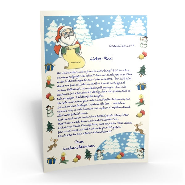 Personalisieter Brief Vom Weihnachtsmann Für Ihr Kind