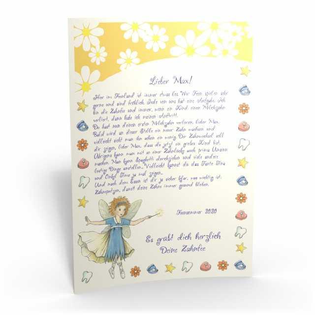 Kinderbriefe Muster : Ein brief von der zahnfee mit großem halbedelstein